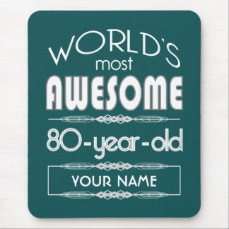 80th Birthday Worlds Best Fabulous Dark Green Mouse Pads