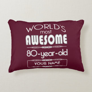 80th Birthday Worlds Best Fabulous Dark Red Maroon Accent Pillow