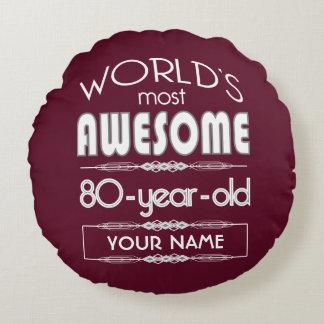80th Birthday Worlds Best Fabulous Dark Red Maroon Round Pillow