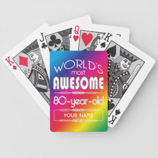 80th Birthday Worlds Best Fabulous Rainbow Bicycle Playing Cards