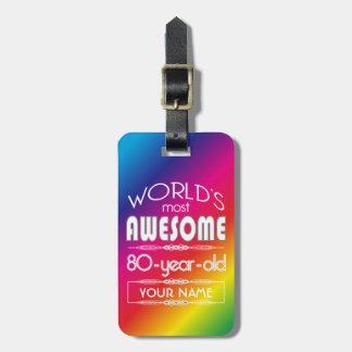 80th Birthday Worlds Best Fabulous Rainbow Tag For Bags