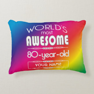 80th Birthday Worlds Best Fabulous Rainbow Accent Pillow