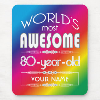 80th Birthday Worlds Best Fabulous Rainbow Mouse Pads