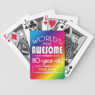 80th Birthday Worlds Best Fabulous Rainbow Bicycle Card Decks