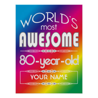 80th Birthday Worlds Best Fabulous Rainbow Poster