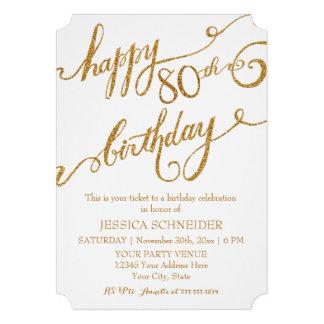 80th Eightieth Birthday Party Celebration Custom Invite