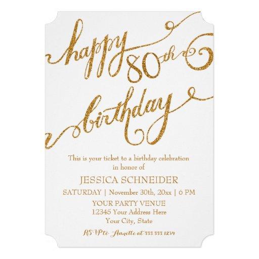 80th, Eightieth Birthday Party Celebration Custom Invite