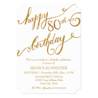 80th, Eightieth Birthday Party Celebration 5x7 Paper Invitation Card
