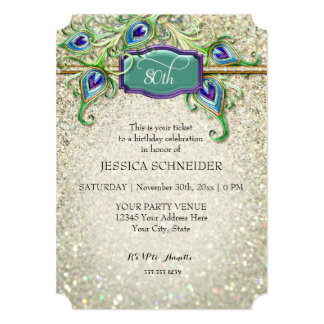 80th Eightieth Birthday Party Peacock Feather 5x7 Paper Invitation Card