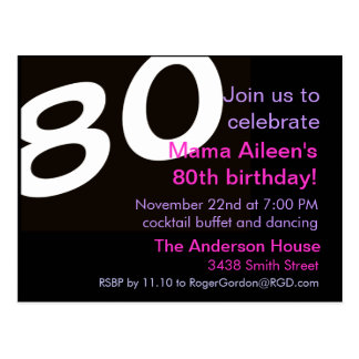 80th Eightieth Birthday Party Postcard Invitation