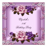 80th Elegant Lilac Pink Purple Roses Birthday 5.25x5.25 Square Paper Invitation Card