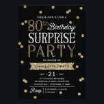"80th Glitter Confetti Surprise Party Invitation<br><div class=""desc"">This chic and stylish 80th Birthday Surprise Party invitation features an elegant faux rose gold glitter confetti theme with modern typography. Customize background color to match event theme color. For an even more memorable invitation select a die-cut shape, textured paper or a double thick paper. For a custom birthday year,...</div>"