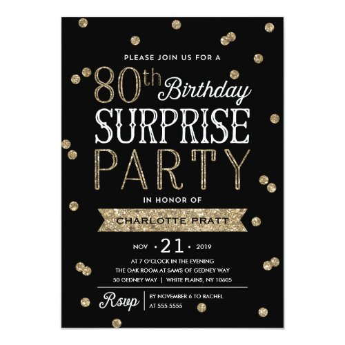 80th Glitter Confetti Surprise Party Invitation