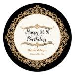 80th Happy Birthday Party Celebration Round Invite Invite