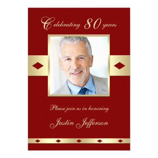 80th Photo Birthday Party Invitation - Burgundy 80 Personalized Invitations