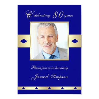 """80th Photo Birthday Party Invitation - Navy 80 5"""" X 7"""" Invitation Card"""