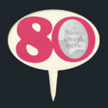 "80th photo fun hot pink birthday cake topper<br><div class=""desc"">Simple bold pink cake topper to celebrate a eightieth birthday. Customize with your birthday girls photograph. Perfect for a special 80th birthday cake. Designed by Sarah Trett.</div>"