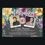 "80th Photo Watercolor Floral Female Birthday Party Invitation<br><div class=""desc"">This watercolor floral photo birthday invitation is perfect for a country style summer or a fall / autumn birthday party. It can also be used for any other milestone birthday year (90th,  70th,  65th,  100th,  etc). Great choice for a retirement party as well.</div>"