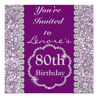 80th PURPLE BLING Birthday Party Invitation
