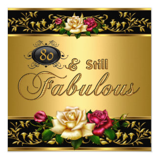 """80th """"Still Fabulous"""" Birthday Red Roses Gold Card"""