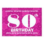 80th SURPRISE Birthday Big Bold and Geometric 5x7 Paper Invitation Card