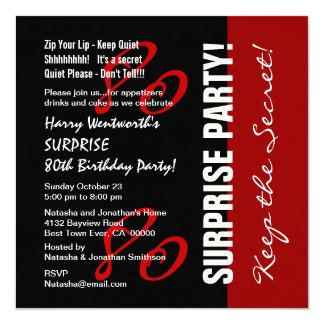 80th SURPRISE Birthday Black Red White Felt Paper Card