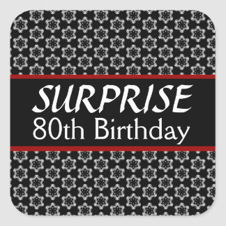 80th SURPRISE Birthday Black Silver Red Square Sticker