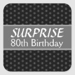 80th SURPRISE Birthday Black Silver Red Square Stickers