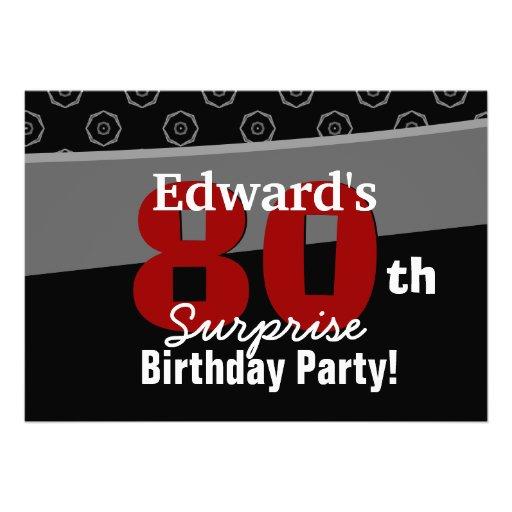 80th Surprise Birthday Black White Horizontal Personalized Invitation