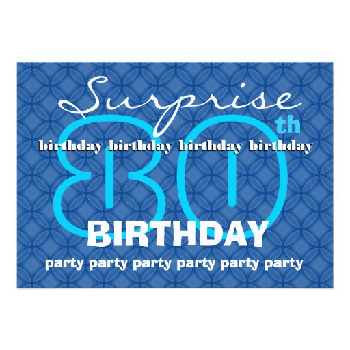 80th SURPRISE Birthday Modern Blue Circles W489 Card