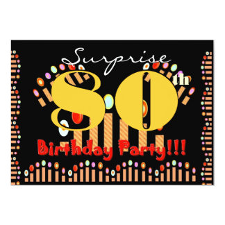 80th SURPRISE Birthday Party CandlesTemplate Custom Invitations