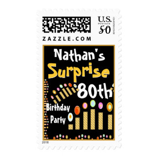80th SURPRISE Birthday Party Gold Candles Stamp