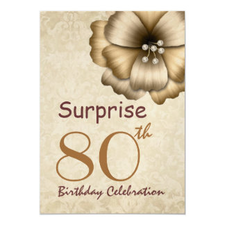 80th SURPRISE Birthday Party Gold Flower Card
