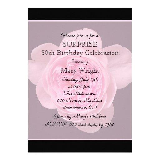 80th Surprise Birthday Party Invitation Rose Invitations