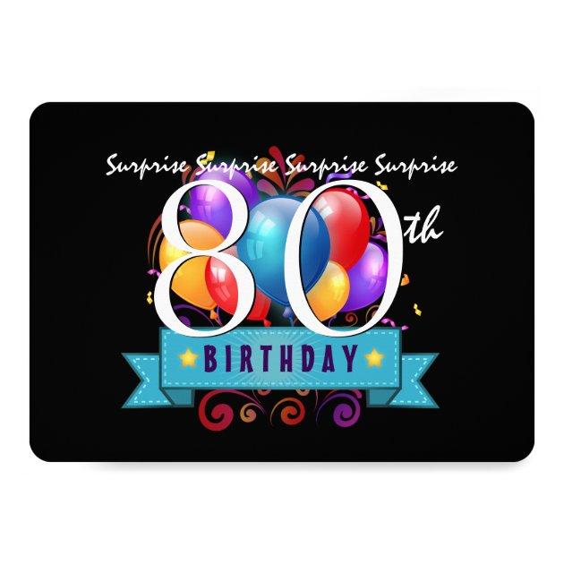 80th SURPRISE Birthday Party Invitation Template | Zazzle