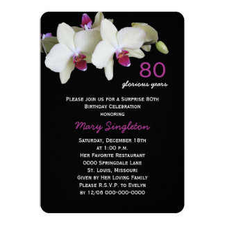 80th Surprise Birthday Party Orchids on Black Card