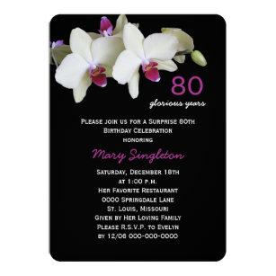 Surprise 80th birthday invitations zazzle 80th surprise birthday party orchids on black invitation filmwisefo