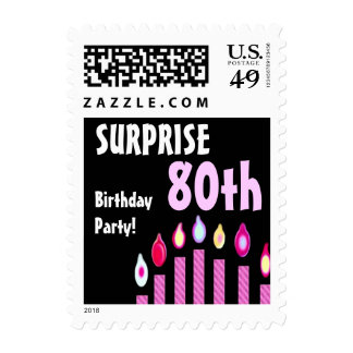 80th SURPRISE Birthday Party Stamp - Pink Candles
