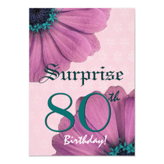 80th Surprise Birthday Pink Daisies Recycled v2 Card