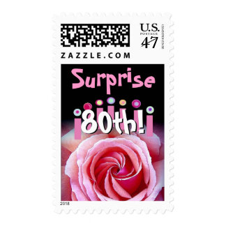 80th SURPRISE Birthday with Rose & Candles Postage
