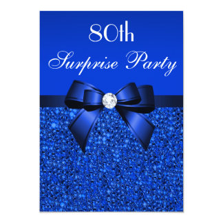 80th Surprise Party Royal Blue Sequins and Bow Card