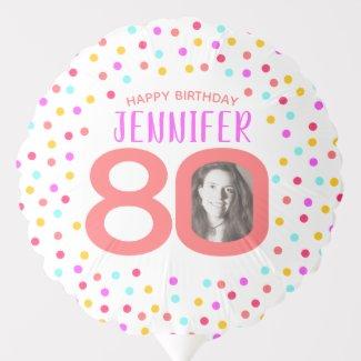 80th two custom photos colorful confetti birthday balloon