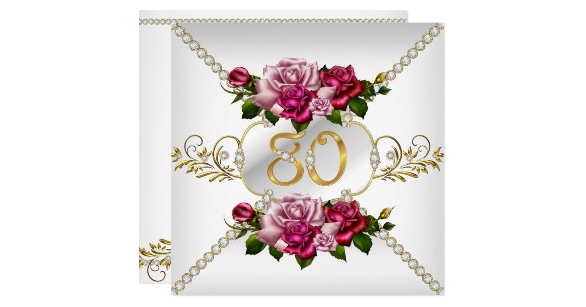 80th Womens Birthday Party Pink Roses White Gold Card  Zazzle