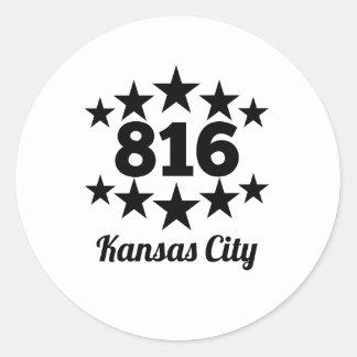 816 Kansas City Pegatina Redonda