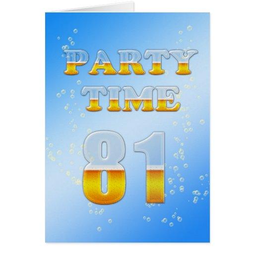 81.a invitación de la fiesta de cumpleaños con las tarjeta de felicitación