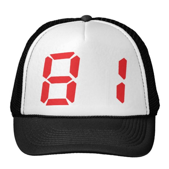 81 eighty-one red alarm clock digital number trucker hat