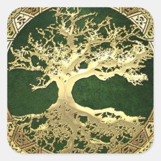 [81] Golden Celtic Tree of Life [3D] Square Sticker