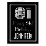 "[ Thumbnail: 81st Birthday — Art Deco Inspired Look ""81"" + Name Card ]"