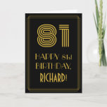 "[ Thumbnail: 81st Birthday: Art Deco Inspired Look ""81"" & Name Card ]"