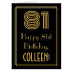 "[ Thumbnail: 81st Birthday: Art Deco Inspired Look ""81"" + Name Card ]"